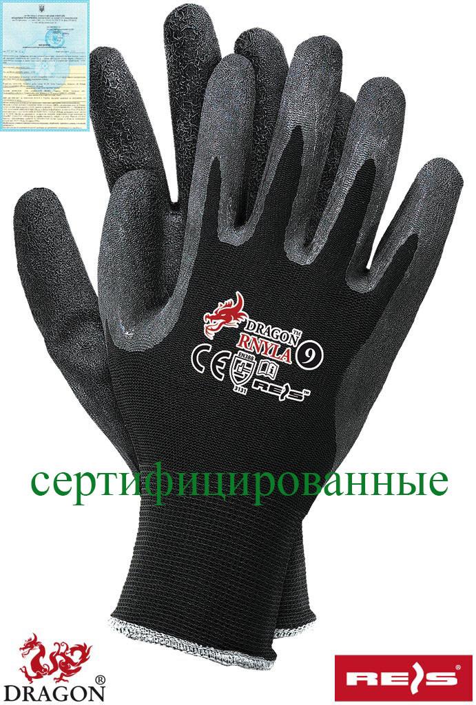 Защитные рукавицы изготовленные из нейлона с дополнительным покрытием из каучука RNYLA B