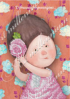"""Схема для вышивки бисером W-537 """"Девушка с розой..."""""""