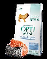 Сухой корм OPTIMEAL (Оптимил) гипоаллергенный, для собак средних и крупных породс лососем 12КГ