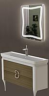 Тумба ЮВЕНТА TICINO Tc-85 белая с умывальником Luxur 80 + зеркало Marsan led 24