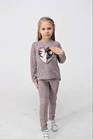 Трикотажный костюм кофта и лосины для девочки