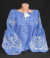 Нарядная вышиванка для женщин, цвет - джинс, лен-габардин, 48-50 р-ры