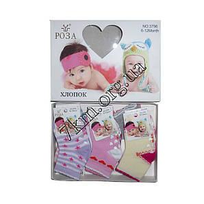 Носки детские для девочек Роза хлопок 0-6 месяцев Оптом 3796-1