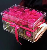 Акриловая коробка для цветов - на 15 роз