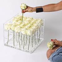 Акриловая коробка для цветов - на 25 роз