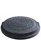 Люк канализационный полимерпесчаный серии Евро черный с замком (до 12,5т), фото 1