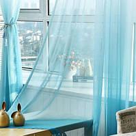 Тюль шифон  Растяжка голубой , высота 2.8м