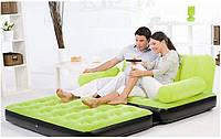 Велюровый надувной диван-трансформер BestWay 67356 , насос 220V