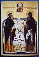 Святые преподобные Сергий и Герман Вааламские. Олеография. Размер 140*200