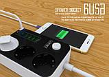 Сетевой удлинитель LDNIO SE3631 на 3 евро розетки 3*220V и 6*USB, фото 5