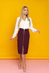"Женская юбка миди с молнией спереди, карманами и разрезом ""Миранда"" (бордо)"