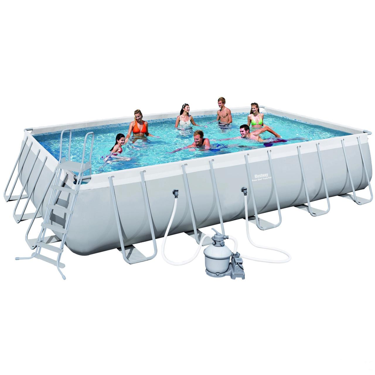 Каркасный бассейн Bestway Power Steel Rectangular Frame 671х366х132 см Басейн прямоугольный