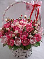 """Свадебная белая корзина цветов из конфет""""Свадебная симфония""""№35"""