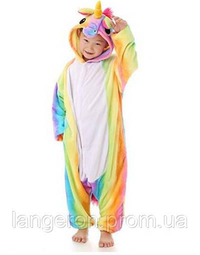 e0c7c6a3388fa Кигуруми Единорог разноцветный радужный детская пижама kigurumi костюм рост  132-137