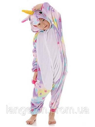 Кигуруми Единорог разноцветный звездный со звездами детская пижама kigurumi  костюм рост 140 (размер 134 140 ) 1d607d56f9521