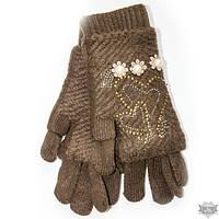 Коричневые вязаные женские перчатки-митенки Shust Gloves