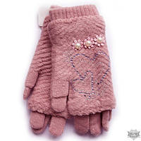 Вязаные нежно-розовые женские перчатки-митенки Shust Gloves