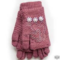Вязаные розовые женские перчатки-митенки Shust Gloves