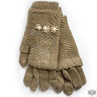 Вязаные бежевые женские перчатки-митенки Shust Gloves