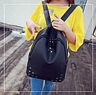 Рюкзак женский чёрный с фурнитурой Весна 2019, фото 2