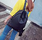 Рюкзак женский чёрный с фурнитурой Весна 2019, фото 3