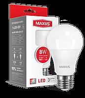 Светодиодная LED лампа MAXUS, 8W, 3000K, 220V, A60, E27