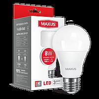 Светодиодная LED лампа MAXUS, 8W, 4100K, 220V,A60,  E27
