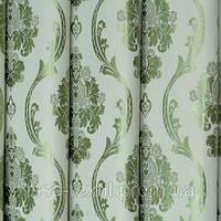 Ткань для штор  блэкаут  Империя зеленый+молочный