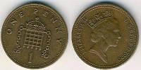 Монета 1 пенни 1976-1996гг.
