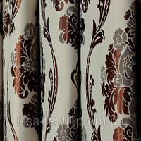 Ткань для штор  блэкаут  Империя венге+молочный