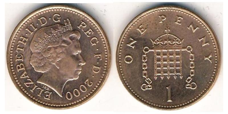 Монета 1 пенни 2000-2006гг.