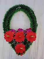 """Ритуальный венок """"Капля"""" с одинарным округлым цветком (8 лепестков)"""