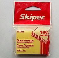 Блок бумаги для записей с клейким слоем 38х51