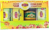 Чай ЛИПТОН АКЦИЯ черный байховый 25п +зеленый байховый 25п + зелен.байховый с ароматом клубники 25п + МЕД в подарок