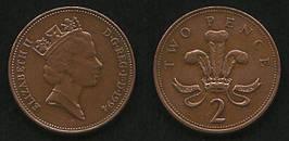 Монета 2 пенни 1971-1996гг.