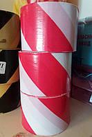 Лента сигнальная (оградительная) 72 мм/100 м красно-белая