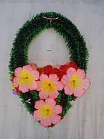 """Ритуальный венок """"Капля"""" с одинарным округлым цветком (6 лепестков)"""