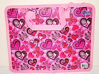 Папка портфель А4 Сердце на молнии, пластиковая, 1 отделение