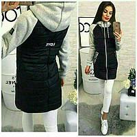 Куртка женская стеганая с трикотажным рукавом 24020, фото 1
