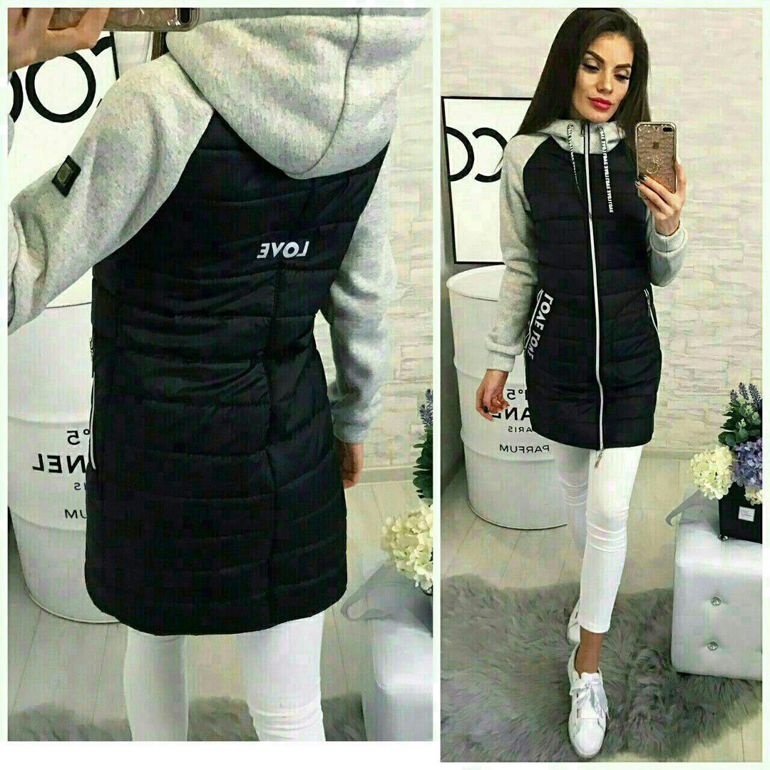 Куртка женская стеганая с трикотажным рукавом 24020  Интернет ... e9d6956dc6ba7