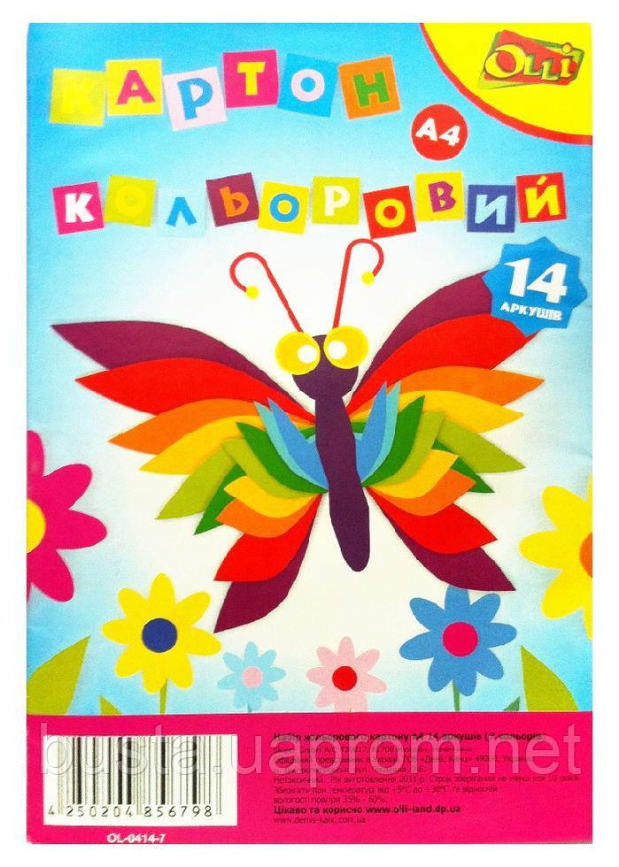 Картон цветной Бабочка 14 листов 7 цветов А4