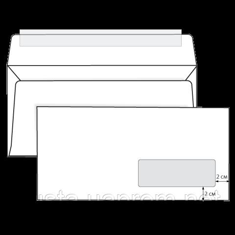 Конверт Евро белый с окном Е65 скл