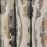 Ткань для штор  блэкаут  Империя бежевый+серебро