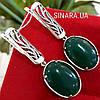 Серебряные серьги  c зеленым агатом - Серьги серебро с зелёным камнем