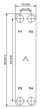 """Паяний теплообмінник SWEP B80Tx66/1P-NC-S (4x1 1/4""""&22U), фото 2"""