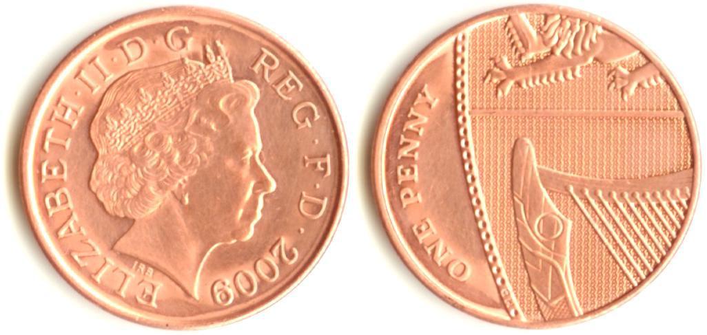 Монета 1 пенні 2009-2015рр.