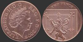 Монета 2 пенса 2008г.