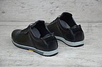 Мужские кожаные кроссовки  Ecco черные