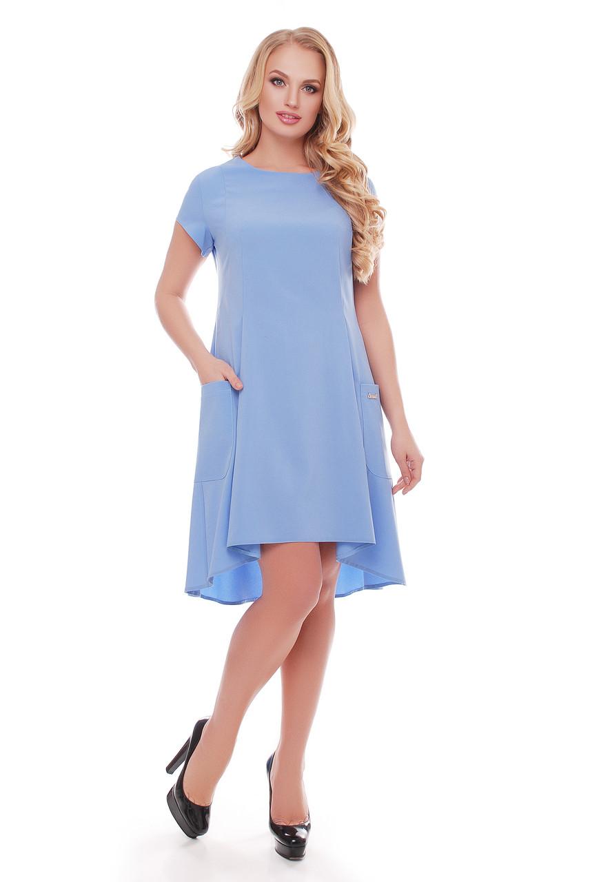 Платье  Милана короткий рукав голубое