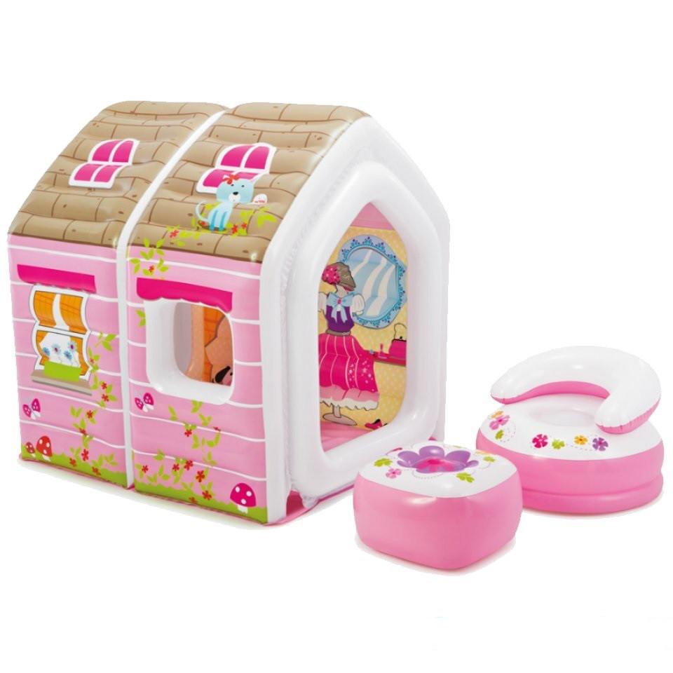 Детский надувной игровой домик Princess Play House Intex 124 х 109 х 122 см, с креслами